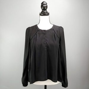 Alice + UO Black Long Sleeve Pleated Button Blouse